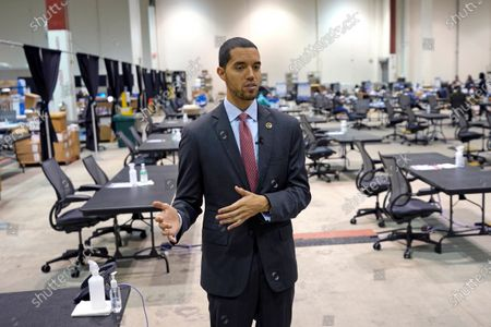 Harris County Clerk Chris Hollins talks about the setup at election headquarters, in Houston