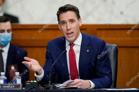 United States Senator Josh Hawley (Republican of Missouri), talks during the confirmation hearing for Supreme Court nominee Amy Coney Barrett before the Senate Judiciary Committee,, on Capitol Hill in Washington.