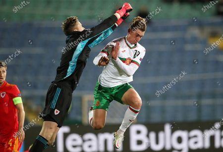 Bozhidar Kraev of Bulgaria can't get to the ball before Wayne Hennessey of Wales.