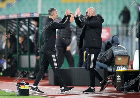A happy Wales Manager Ryan Giggs celebrates after Wales win 1-0 in Bulgaria.