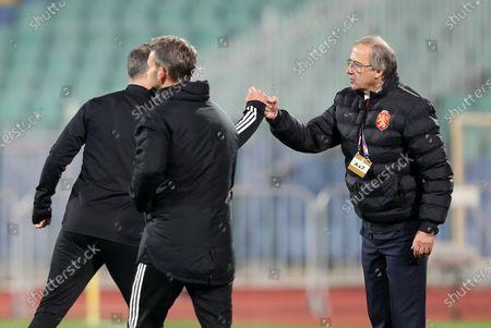 Wales Manager Ryan Giggs and Bulgaria Manager Georgi Dermendzhiev.