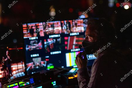 Director Alex Rudzinski at the bank monitors during rehearsals the day before the 2020 Billboard Music Awards at the Dolby Theatre in Hollywood, CA, Tuesday, Oct. 13, 2020.(Jay L. Clendenin / Los Angeles Times)