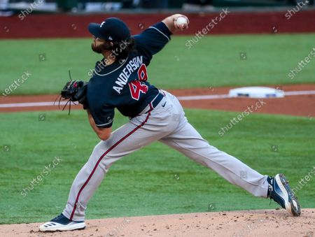 Stock Picture of Arlington, Texas, Tuesday, October 13, 2020. Atlanta Braves starting pitcher Ian Anderson (48) pitches the3 second inning against the Dodgers in game two of the NLCS at Globe Life Field. (Robert Gauthier/ Los Angeles Times)