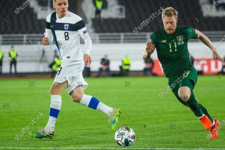 Robert Taylor (L) of Finland in action against Daryl Horgan (R) of Republic of Ireland during the UEFA Nations League soccer match between Finland and Republic of Ireland at Helsinki Olympic Stadium, Helsinki, Finland, 14 October 2020.