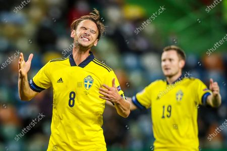 Sweden national team players Albin Ekdal (L) and Mattias Johansson react after missing a goal during the UEFA Nations League group C soccer match between Portugal and Sweden, held at Alvalade stadium in Lisbon, Portugal, 14 October 2020.