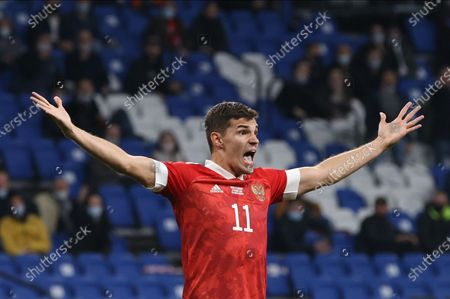 Roman Zobnin of Russia reacts during the UEFA Nations League soccer match between Russia and Hungary in Moscow, Russia, 14 October 2020.