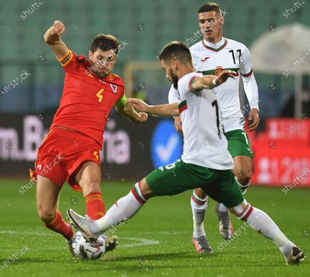 Ben Davies of Wales (L) in action against Kristiyan Malinov of Bulgaria (R) during the UEFA Nations League group stage, league B, group 4 match between Bulgaria and Wales in Sofia, Bulgaria  14 October 2020.