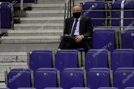 Real Madrid's President Florentino Perez reacts during the Euroleague basketball match between Real Madrid and Khimki at Wizink Center in Madrid, Spain, 14 October 2020.