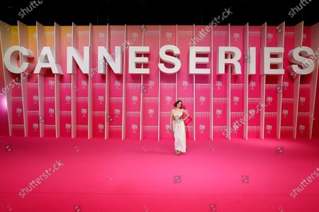 Canneseries jury member French actress Roxane Mesquida poses on the pink carpet before the closing ceremony of the Cannes Series Festival, in Cannes, France, 14 October 2020.