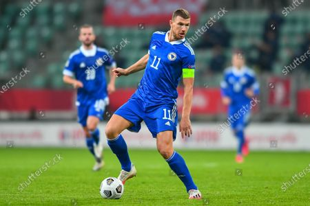 Edin Dzeko during the UEFA Nations League group stage match between Poland and Bosnia-Herzegovina at Stadion Miejski