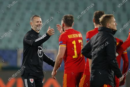 Wales' Ryan Giggs celebrates his team's victory after the UEFA Nations League soccer match between Bulgaria and Wales at Vassil Levski national stadium in Sofia, Bulgaria