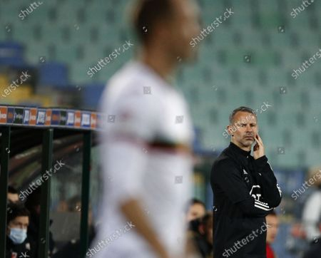 Wales' coach Ryan Giggs looks, during the UEFA Nations League soccer match between Bulgaria and Wales at Vassil Levski national stadium in Sofia, Bulgaria