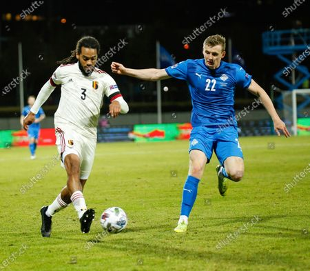 Stock Image of Belgium's Jason Denayer, left is challenged by Iceland's Jon Dadi Bodvarsson, right, during the UEFA Nations League soccer match between Iceland and Belgium at the Laugardalsvollur stadium in Reykjavik, Iceland