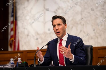 Sen. Josh Hawley, R-Mo., questions Supreme Court nominee Amy Coney Barrett during the third day of her confirmation hearings before the Senate Judiciary Committee on Capitol Hill in Washington
