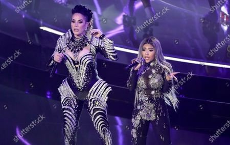 "Ivy Queen, left, and Nesi perform ""Yo Perreo Sola"" at the Billboard Music Awards, at the Dolby Theatre in Los Angeles"