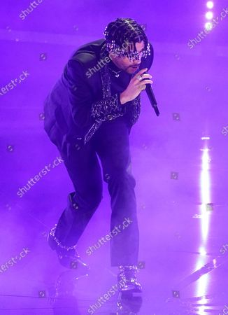 """Bad Bunny performs """"Yo Perreo Sola"""" at the Billboard Music Awards, at the Dolby Theatre in Los Angeles"""