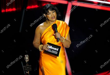 Garcelle Beauvais presents the award for top Christian artist at the Billboard Music Awards, at the Dolby Theatre in Los Angeles