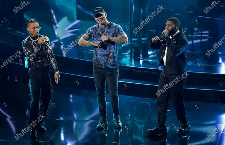 "Stock Picture of Swae Lee, from left, Kane Brown and Khalid perform ""Be Like That"" at the Billboard Music Awards, at the Dolby Theatre in Los Angeles"