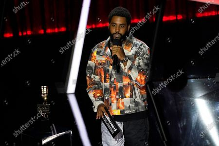 Jharrel Jerome presents the award for top female artist at the Billboard Music Awards, at the Dolby Theatre in Los Angeles