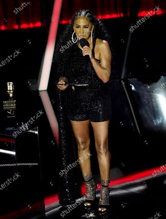 Stock Image of Sheila E. presents the award for top song sales artist at the Billboard Music Awards, at the Dolby Theatre in Los Angeles
