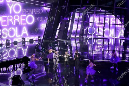 "Ivy Queen, from left, Nesi and Bad Bunny perform ""Yo Perreo Sola"" at the Billboard Music Awards, at the Dolby Theatre in Los Angeles"