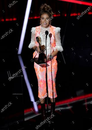 Stock Picture of Lauren Daigle accepts the award for top Christian artist at the Billboard Music Awards, at the Dolby Theatre in Los Angeles