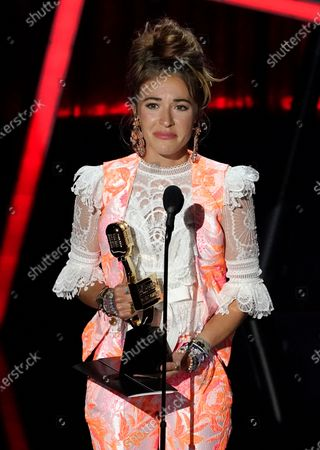 Lauren Daigle accepts the award for top Christian artist at the Billboard Music Awards, at the Dolby Theatre in Los Angeles