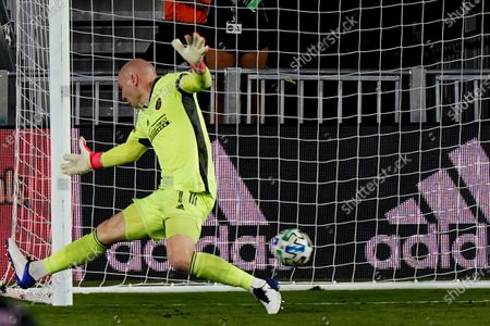 Stock Photo of Atlanta United goalkeeper Brad Guzan is unable to stop a shot by Inter Miami midfielder Brek Shea for a goal during the second half of an MLS soccer match, in Fort Lauderdale, Fla