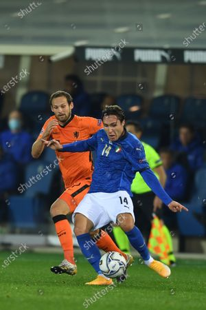 """Federico Chiesa (Italy)Daley Blind (Netherlands)                             during the Uefa """"Nations League 2020-2021"""" match between Italy 1-1 Neterlands   at Gewiss Stadium in Bergamo, Italy."""