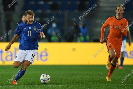 "Ciro Immobile (Italy)Frenkie de Jong (Netherlands)                       during the Uefa ""Nations League 2020-2021"" match between Italy 1-1 Neterlands   at Gewiss Stadium in Bergamo, Italy."