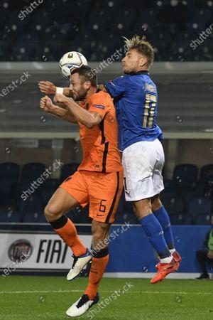 "Stefan de Vrij (Netherlands)Ciro Immobile (Italy)                       during the Uefa ""Nations League 2020-2021"" match between Italy 1-1 Neterlands   at Gewiss Stadium in Bergamo, Italy."