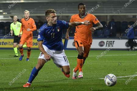 "Ciro Immobile (Italy)Georginio Wijnaldum (Netherlands)                       during the Uefa ""Nations League 2020-2021"" match between Italy 1-1 Neterlands   at Gewiss Stadium in Bergamo, Italy."