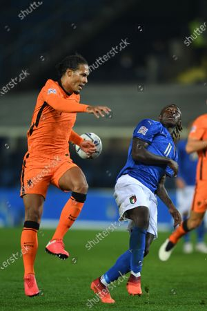 "Virgil van Dijk (Netherlands)Moise Kean (Italy)                                   during the Uefa ""Nations League 2020-2021"" match between Italy 1-1 Neterlands   at Gewiss Stadium in Bergamo, Italy."