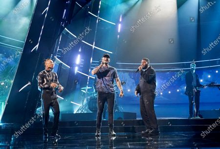 Swae Lee, Kane Brown, and Khalid perform during the 2020 Billboard Music Awards held at the Dolby Theatre in Hollywood, CA. (Andrew Gombert / Los Angeles Times)