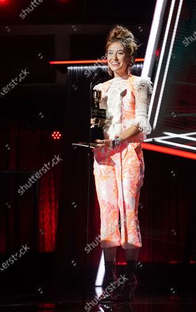Stock Image of Lauren Daigle accepts the award for top Christian artist during the 2020 Billboard Music Awards held at the Dolby Theatre in Hollywood, CA. (Andrew Gombert / Los Angeles Times)