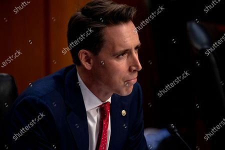 Stock Image of United States Senator Josh Hawley (Republican of Missouri) asks questions during the third day of the confirmation hearings for Judge Amy Coney Barrett to be Associate Justice of the Supreme Court replacing the late Ruth Bader Ginsburg before the US Senate Committee on the Judiciary on Capitol Hill in Washington, DC.