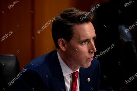 United States Senator Josh Hawley (Republican of Missouri) asks questions during the third day of the confirmation hearings for Judge Amy Coney Barrett to be Associate Justice of the Supreme Court replacing the late Ruth Bader Ginsburg before the US Senate Committee on the Judiciary on Capitol Hill in Washington, DC.