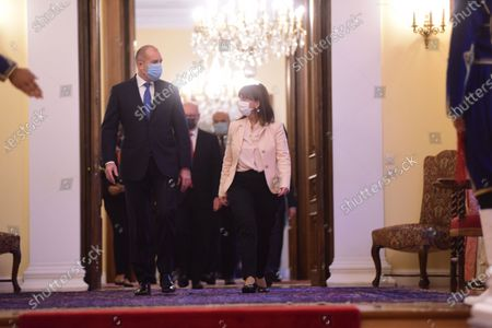 Stock Picture of President of Bulgaria Rumen Radev (left) and President of Hellenic Republic Katerina Skellaropoulou (right) during their meeting.