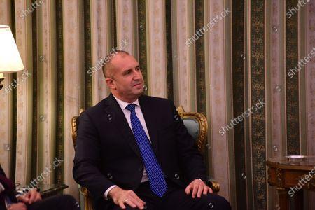 President of Bulgaria Rumen Radev during the meeting with President of Hellenic Republic Katerina Skellaropoulou.