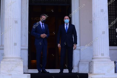 Stock Image of Greek Prime Minister Kyriakos Mitsotakis (left) has welcomed President of Bulgaria Rumen Radev (right) at Maximou Mansion.