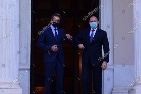Greek Prime Minister Kyriakos Mitsotakis (left) has welcomed President of Bulgaria Rumen Radev (right) at Maximou Mansion.