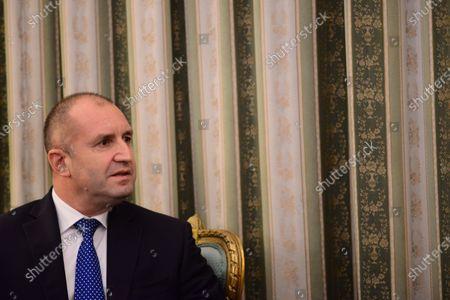 Stock Photo of President of Bulgaria Rumen Radev during the meeting with President of Hellenic Republic Katerina Skellaropoulou.