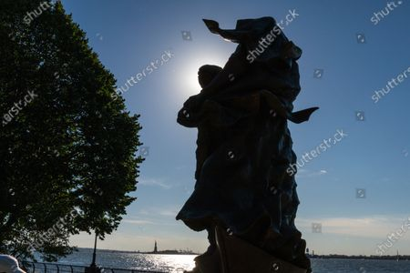 "View of the statue of Mother Cabrini in Battery Park City, New York City. A year after a tribute to Mother Cabrini was skipped by City Hall's much vaunted ""She Built NYC"" commission, Governor Andrew Cuomo gave America's first saint the respect she deserved with the unveiling of the new statue in Battery Park City for Columbus Day. Normally, Cuomo would be leading the Columbus Day Parade up Fifth Avenue, but COVID-19 resulted in the cancellation of most every major parade in the city. The governor told members of the Columbus Citizens Foundation that he would unveil the statue to mark the Columbus Day celebration."