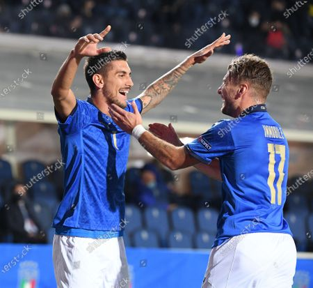Italy's Lorenzo Pellegrini (L) celebrates his goal with Ciro Immobile during a UEFA Nations League football match against the Netherlands in Bergamo, Italy, Oct. 14, 2020.