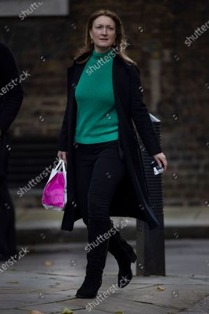 Newly appointed government spokesperson Allegra Stratton arrives in Downing Street.
