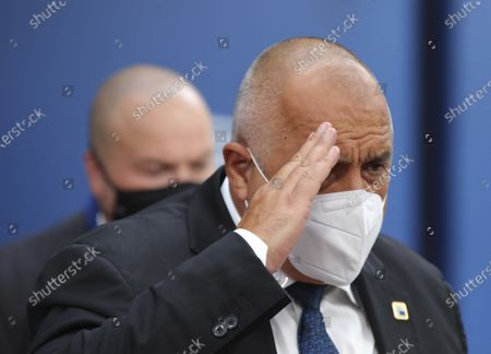 Bulgaria's Prime Minister Boyko Borissov arrives for an EU summit at the European Council building in Brussels, . European Union leaders are meeting in person for a two-day summit amid the worsening coronavirus pandemic, to discuss topics ranging from Brexit to climate and relations with Africa