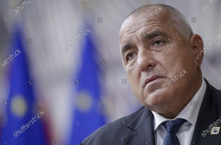 Bulgaria's Prime Minister Boyko Borissov arrives for an EU summit at the European Council building in Brussels, . European Union leaders are meeting in person for a two-day summit amid the worsening coronavirus pandemic to discuss topics ranging from Brexit to climate and relations with Africa