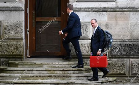 British Foreign Secretary Dominic Raab arrives at Downing Street in London, Britain, 15 October 2020. The UK government is set to impose further restrictions on London, as Covid-19 infections continue to rise.  According to recent data from the Office for National Statistics (ONS), Covid-19 deaths in England have risen four fold over the last month.