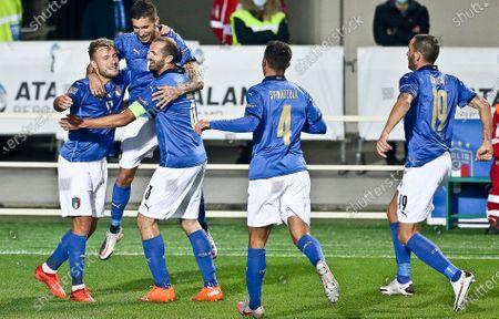 Italy's Lorenzo Pellegrini celebrates after the goal with Ciro Immobile, Giorgio Chiellini, Spinazzola and Leonardo Bonucci