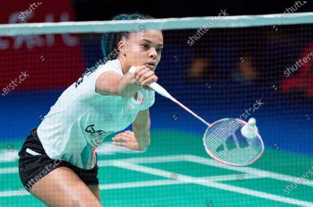 France's Leonice Huet in action during her women's single match against Belgium's Lianne Tan during the Danisa Denmark Open Badminton tournament in Odense, Denmark, 15 October 2020.